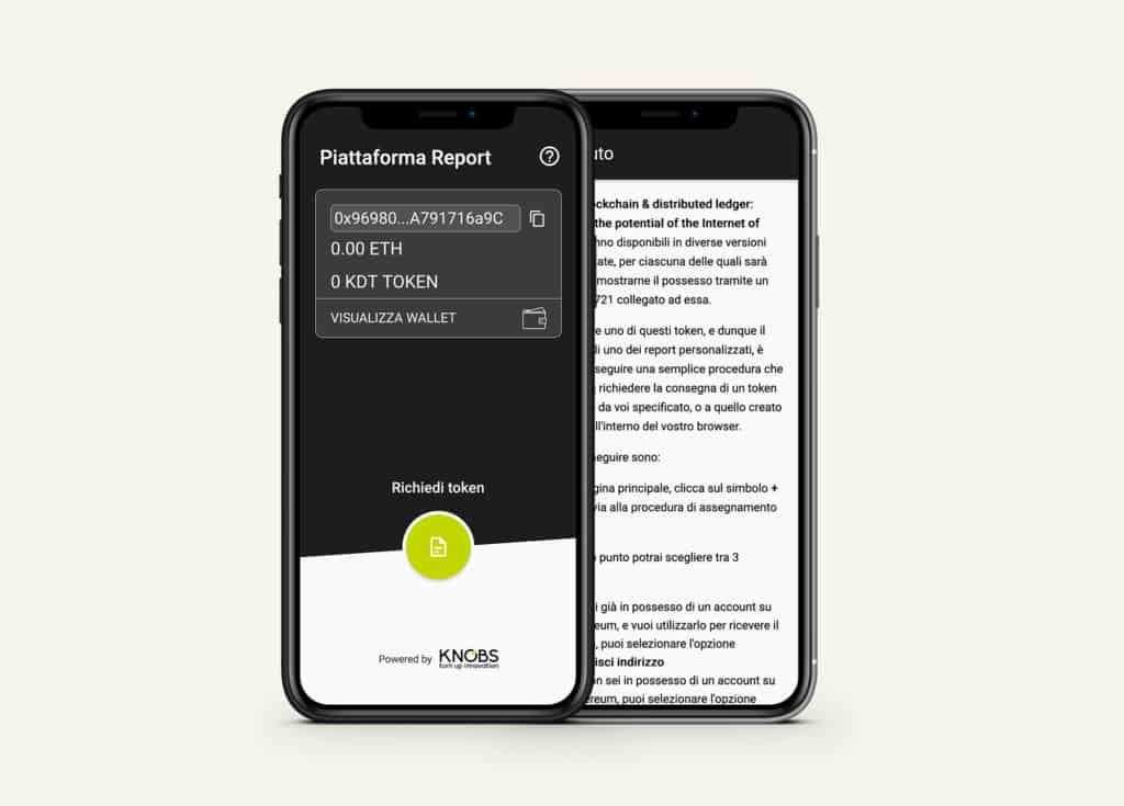 KNOBS | schermata piattaforma K blcokchain